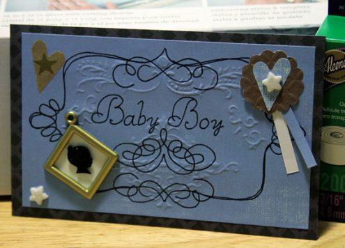 embossed baby boy card