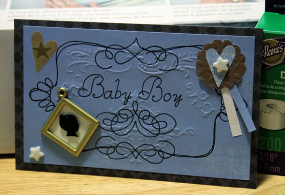 embossed baby boy card