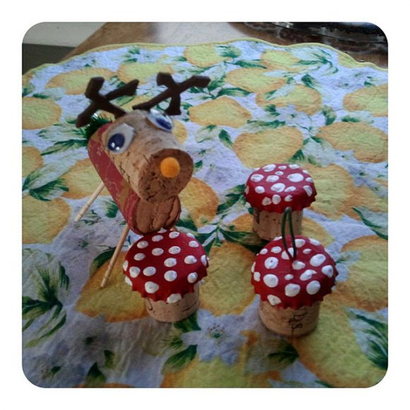 mushroom cork ornament