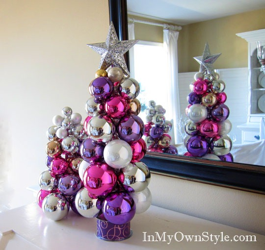 make a tabletop ornament tree dollar store crafts