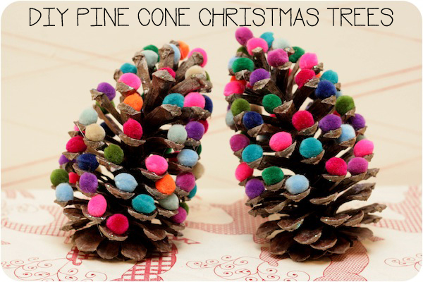 Make pine cone christmas trees dollar store crafts for Pine cone christmas tree craft