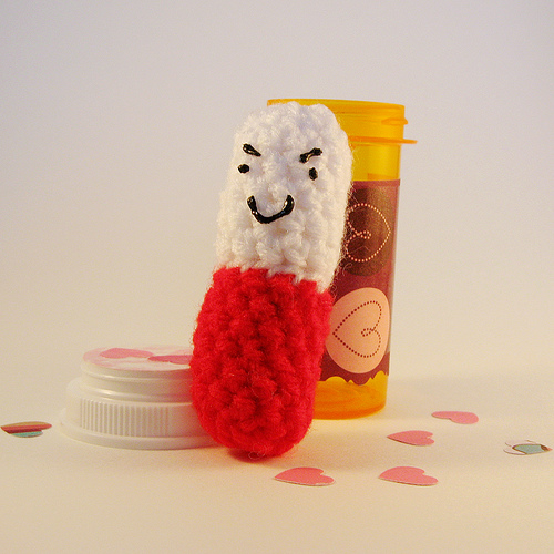 amigurumi pill bottle
