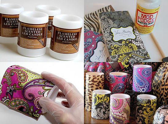 Dollar store craft: Designer decoupaged candles using Vera Bradley napkins and candles from the dollar store