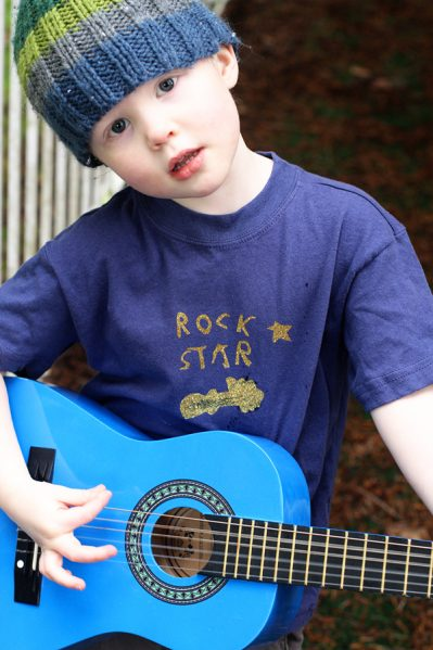 rock star kid with guitar