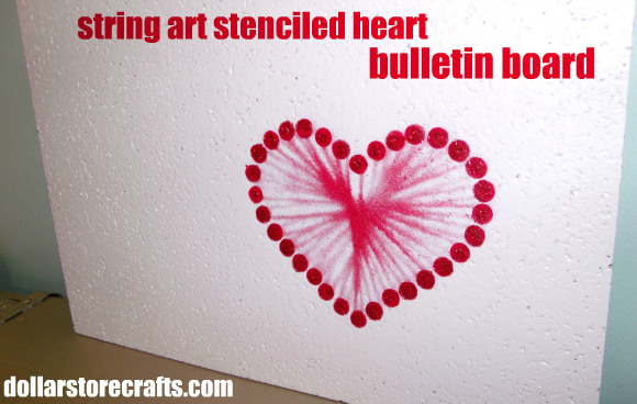 tutorial string art stenciled heart bulletin board. Black Bedroom Furniture Sets. Home Design Ideas