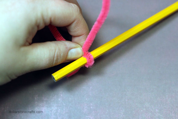 curl edges of pipe cleaners with pencil