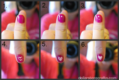how to make a heart on finger nails
