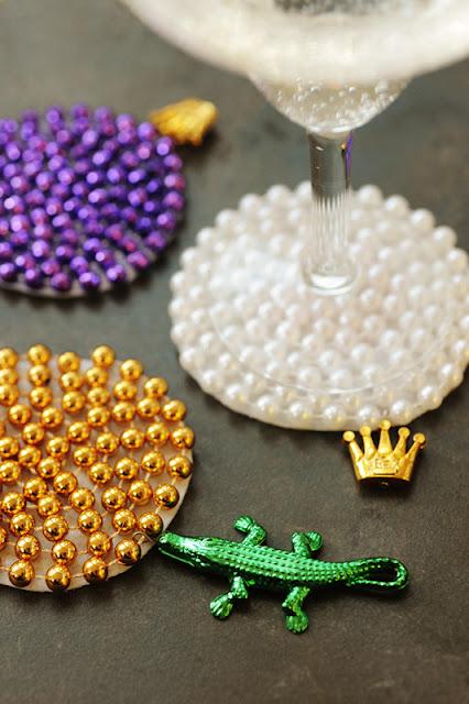 mardi gras beads coasters