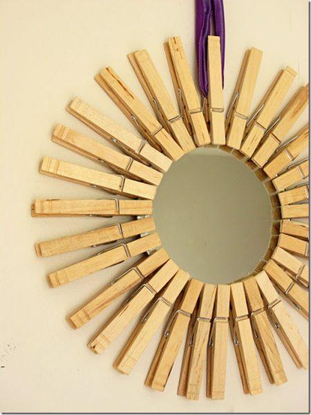 Make a clothespin starburst mirror dollar store crafts for Dollar store mirror craft