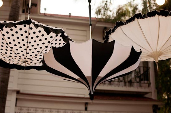 black and white wedding umbrellas