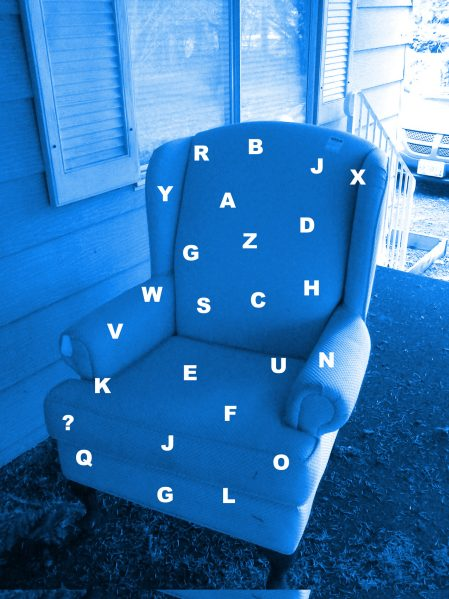 Wingback chair random letters