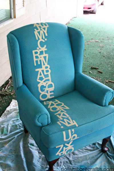blue typography chair