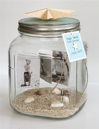 centerpiece beach photo jar