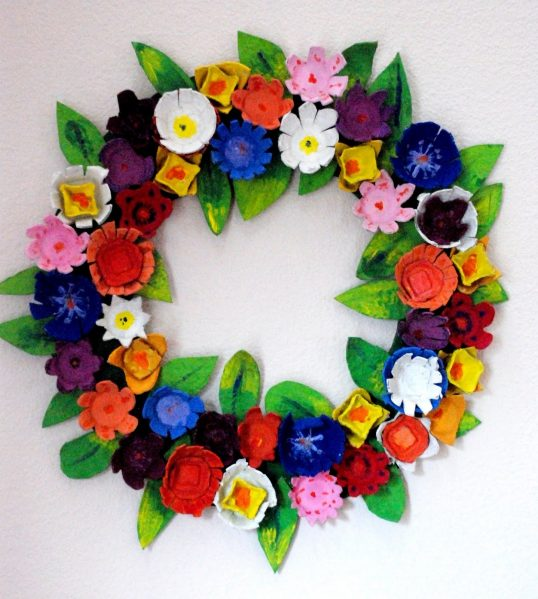 Gorgeous flower wreath made out of egg cartons!