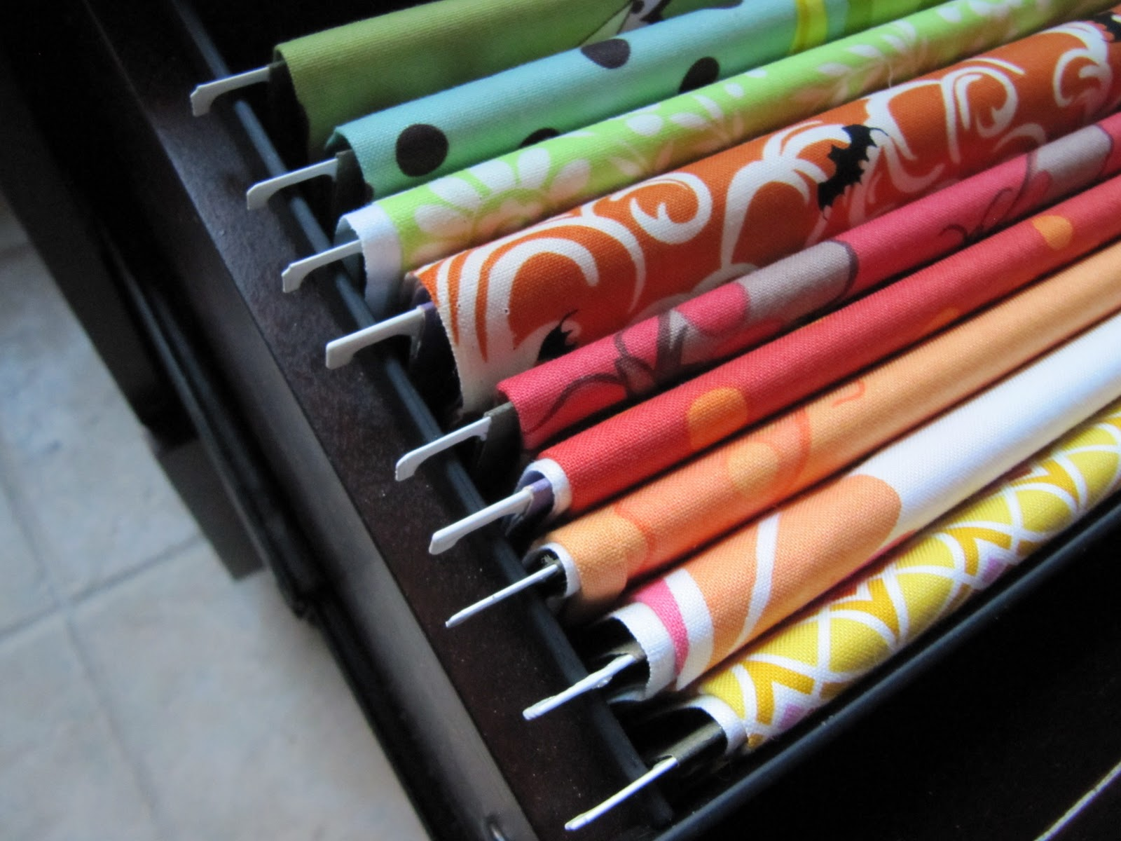 Organize your fabric in a file cabinet dollar store crafts for Fabric storage