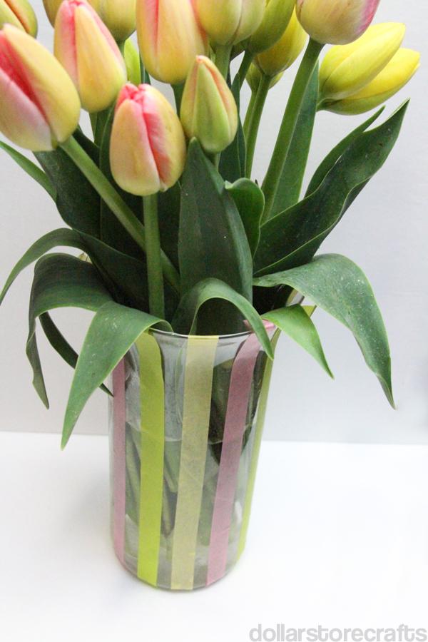 washi tape vase with tulips