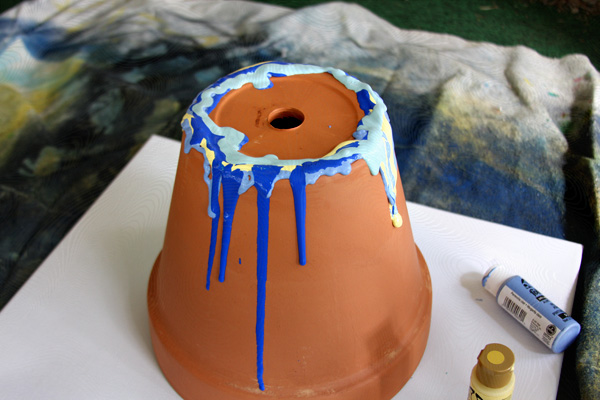 dripping paint pottery