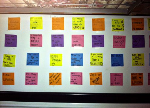 inspirational post it wall