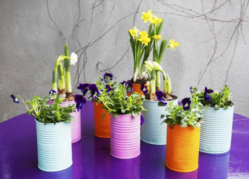 painted recycled can planters