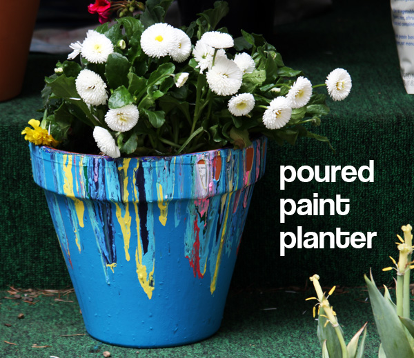 poured paint planter