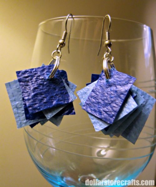 Plastic Tablecloth confetti earrings