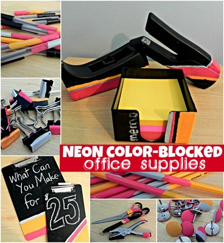 a6b3191dec Make Neon Color Blocked Office Supplies » Dollar Store Crafts