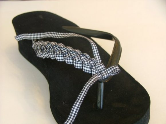 ribbon braided flip flops