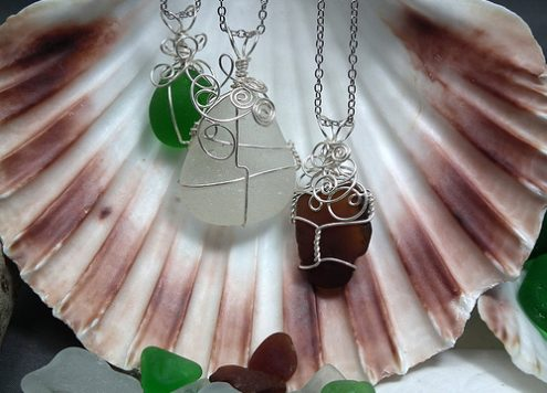 wire-wrapped seaglass pendants