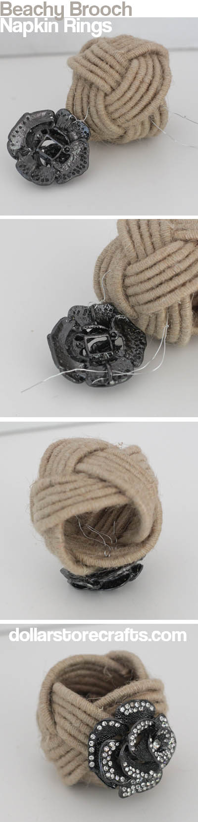 beachy brooch napkin rings