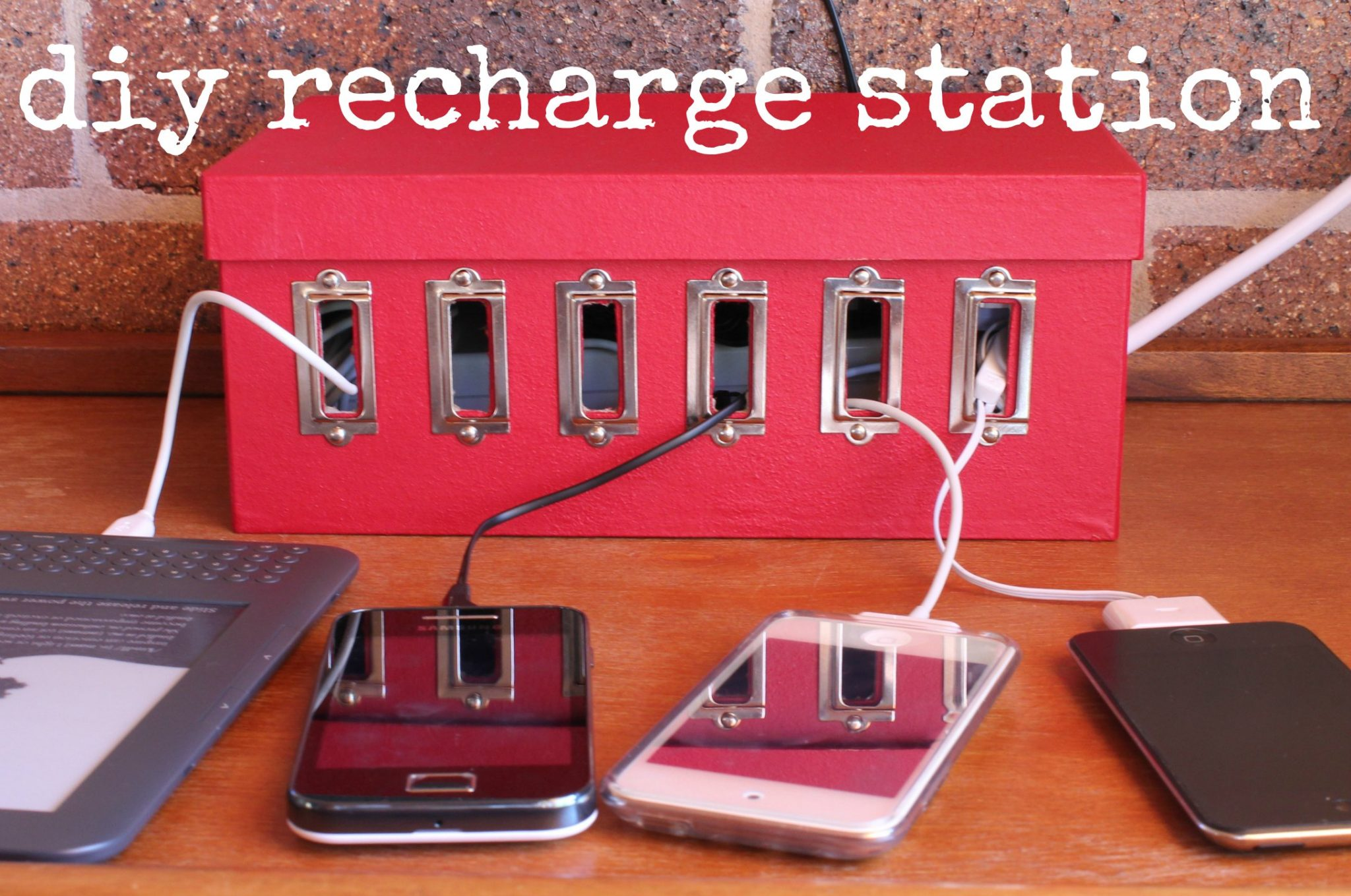 Make a device charging station dollar store crafts Diy cable organizer