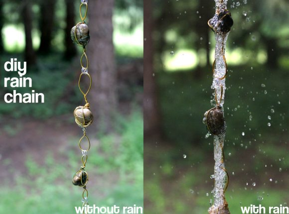 DIY rain chain with and without water
