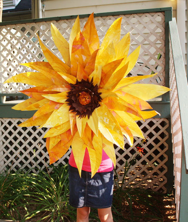 Make A Giant Paper Sunflower For 1 Dollar Store Crafts