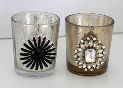 styled by tori spelling bling on mercury glass candle holders