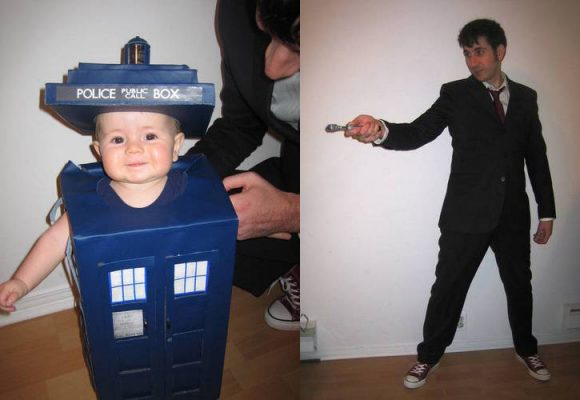doctor who dad & daughter costume - tardis and ten