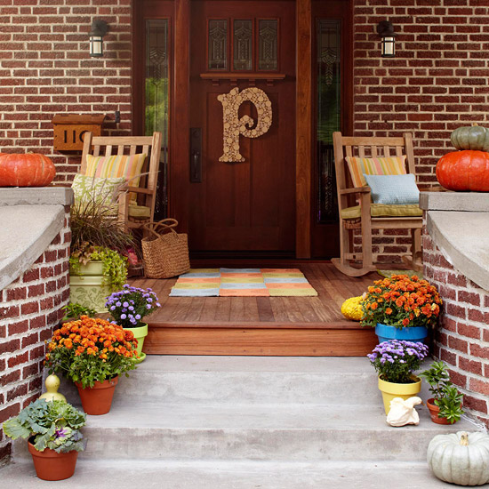 fall patio with monogram