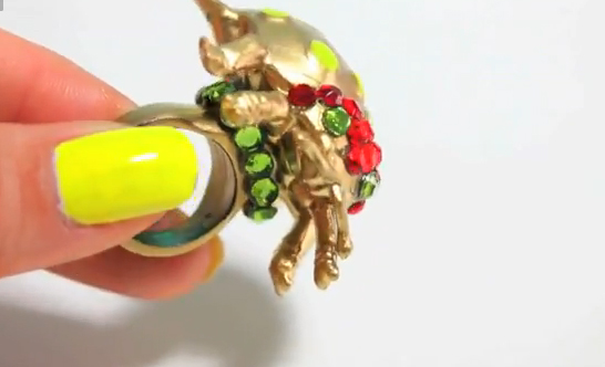 gold bug ring craft -- underneath it's blingy!