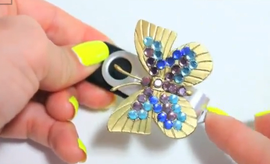 gold butterfly flash drive