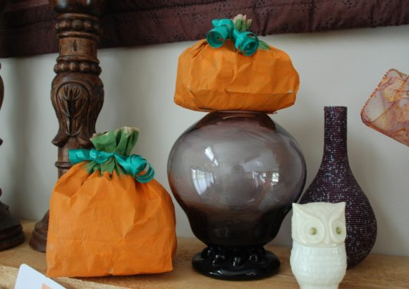 painted paper bag pumpkins