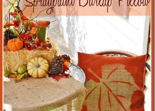 Make a spray painted burlap pillow