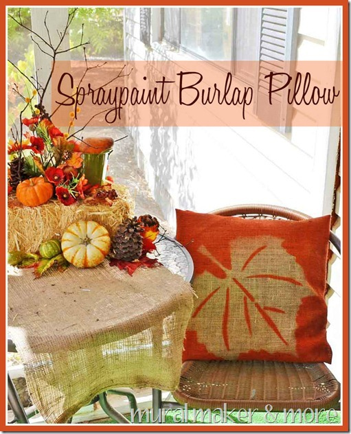 Make a spray painted burlap pillow