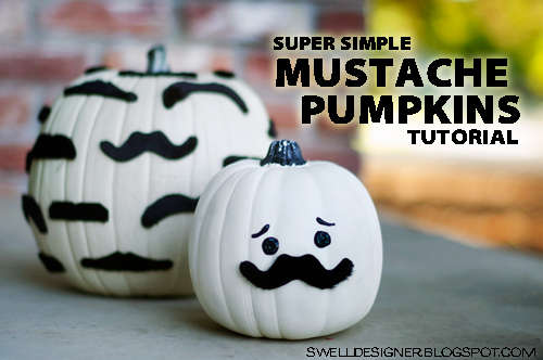super simple mustache pumpkins