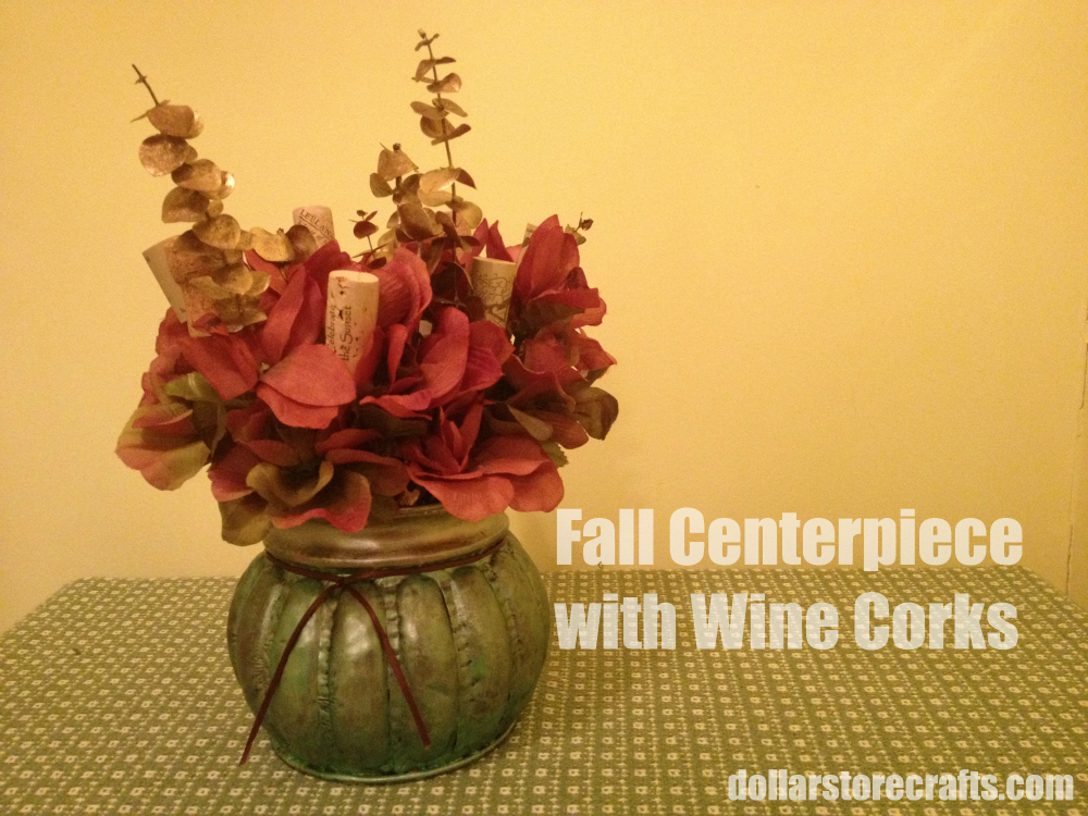 Tutorial fall centerpiece with wine corks dollar store for Crafts to do with corks