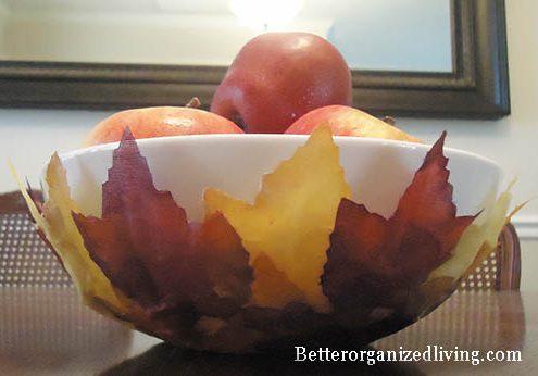 Leaf Crafts: Make a Decorative Fall Leaves Bowl (via dollarstorecrafts.com)