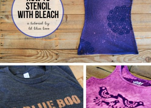 How to stencil fabric with bleach (via dollarstorecrafts.com)