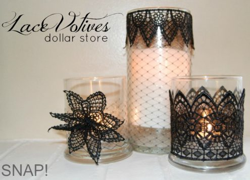 Make lace votive holders (via dollarstorecrafts.com)