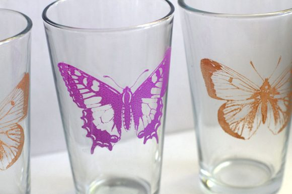 martha stewart butterfly silkscreen glasses from dollar store crafts