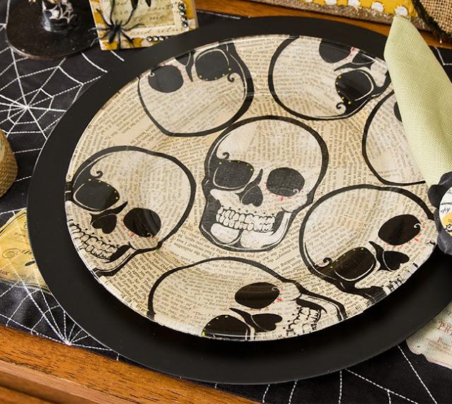 Make A Halloween Skull Plate Using Napkins! » Dollar Store