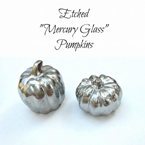 Faux etched mercury glass pumpkins (via dollarstorecrafts.com)