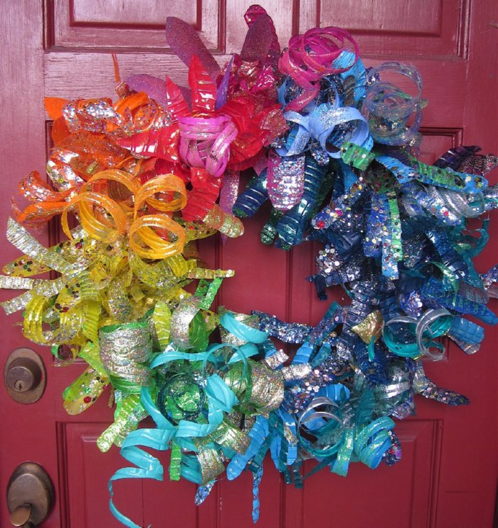 Recycled Plastic Christmas Tree: Recycled Crafts: Plastic Bottle Flower Wreath » Dollar