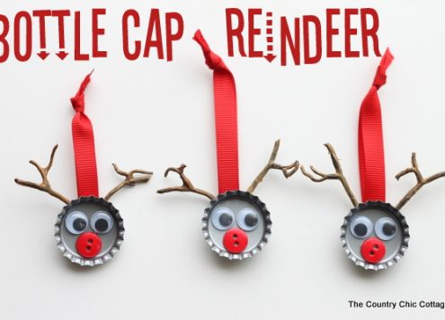 Make bottle cap reindeer (via dollarstorecrafts.com)